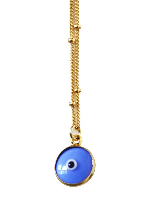 Collier lumineux bleu mauvais œil