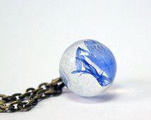 echte Korenbloem orb geometrische ketting blauw bloem bal sieraden ronde blauwe globe terrarium ketting haar cadeaus voor moeder planète bleue Рю134