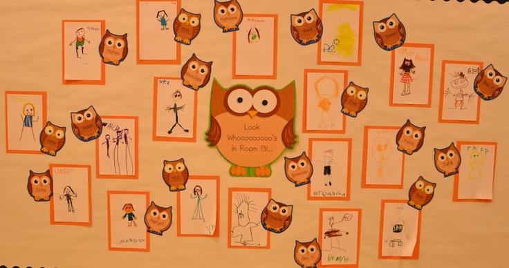 First Day Bulletin Board: First Week, Schools Ideas, Owl Theme, Call Kindergarten, Owl Classroom, Places Call, Boards Ideas, Classroom Ideas, Kindergarten Self Portraits