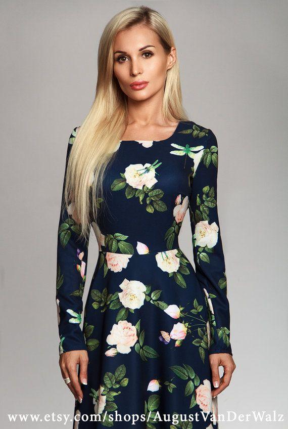 Floral Dress Maxi Dress Navy Elegant dress by AugustVanDerWalz