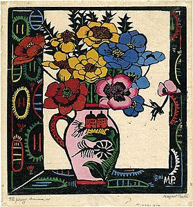 """Pink Jug"" - distinctive woodblock print by Margaret Preston 1925. Have my own copy of this print. Love it!"