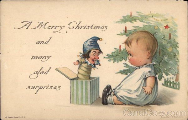 Baby and Jack-in-the-Box by a Christmas Tree Charles Twelvetrees