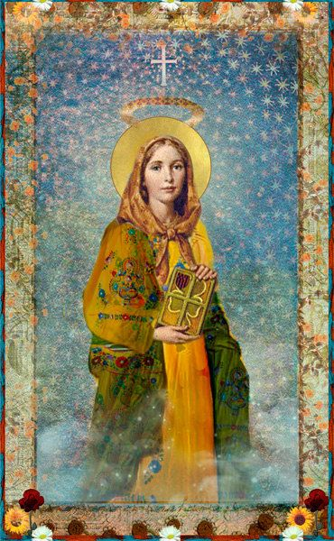 "Staint Dymphna— Prayer: ""Hear us, O God, Our Saviour, as we honor St. Dymphna, patron of those afflicted with mental and emotional illness. Help us to be inspired by her example and comforted by her merciful help. Amen."""
