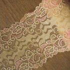 "4.5 Yards 6"" Wide Stretch Light Orange Lace with Pink Flower  220"