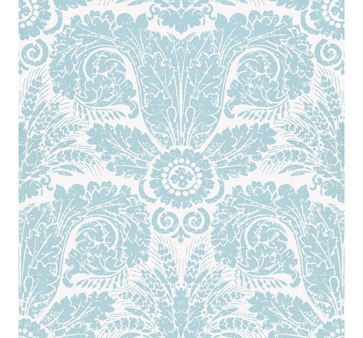 WH154 02  Wheat Damask Blue on Off White by Waterhouse Wallhangings