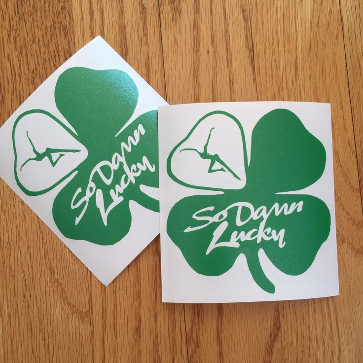 Lucky clover adhesive vinyl die cut decal sticker graphic design by nockonwood on