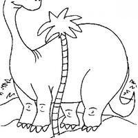 Desenho de Dinossauro atrás do coqueiro para colorir