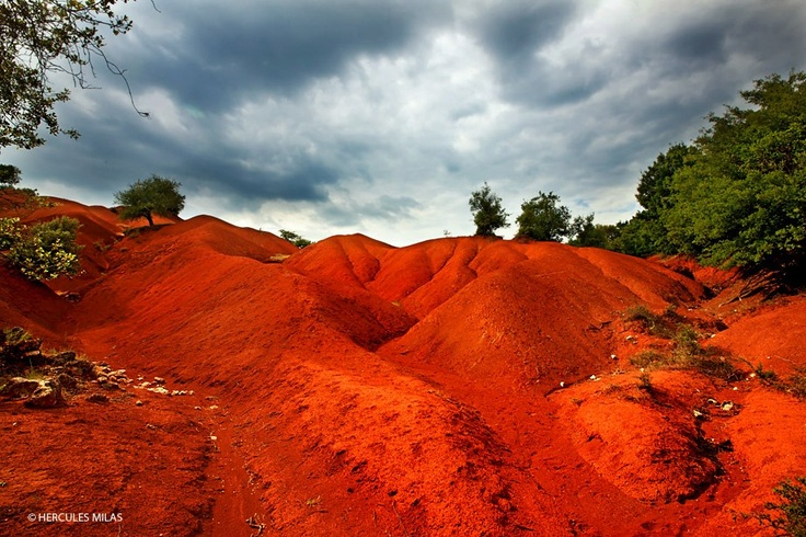 """The strange landscape of Kokkinopilos (means """"Red Clay""""), at the northeast """"edge"""" of Preveza province, close to the """"borders"""" with Ioannina and Arta, about 5 minutes walk from the National Road, but very well """"hidden"""". Epirus, Greece"""