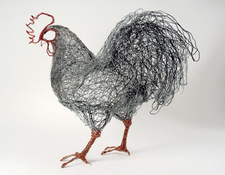 Cockerel. Steel wire and netting, copper wire and telephone cabling.