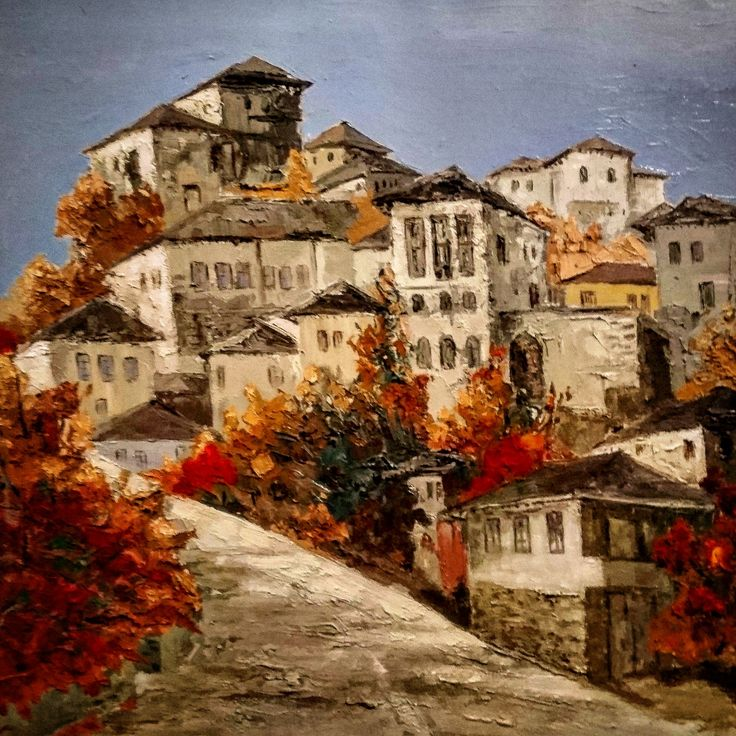 Painting of Gjirokastra in south Albania by artist Robert Permeti - chinesischer garten brucke