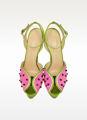 Sandales à Plateforme en Satin Vert et Fuchsia avec Cristaux Noirs - Charlotte Olympia