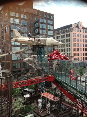 St. Louis City Museum/ giant jungle gym for adults and kids alike....and theres a bar inside. What better way to have fun than get a little bit lit and climb on several stories worth of real life shoots and ladders!