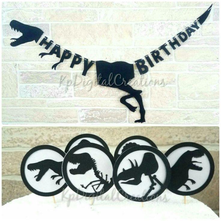 Dinosaur birthday, dinosaur birthday banner, Dinosaur cupcake toppers, Dinosaur party, dinosaur party banner, jurassic park birthday, juassic world birthday, juassic cake