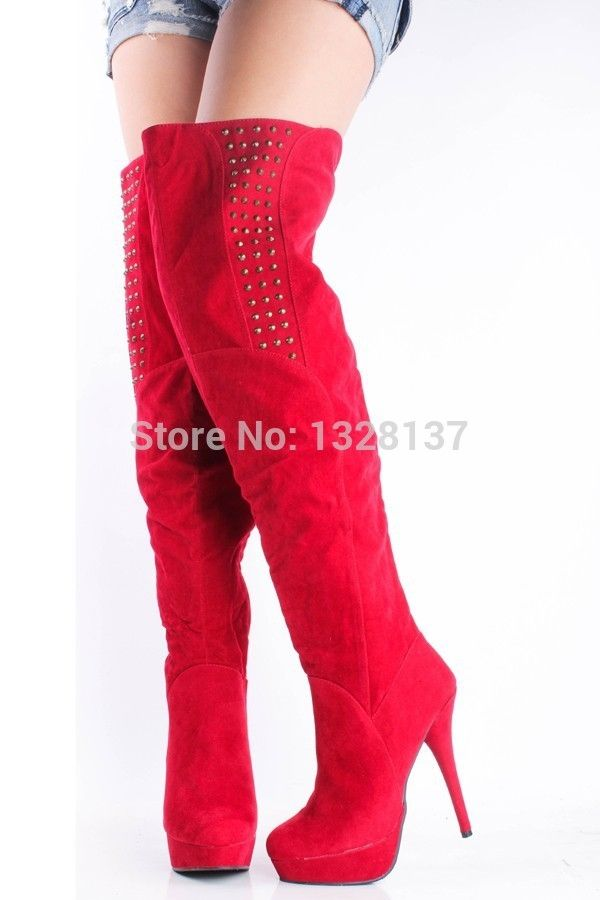 120.99$  Buy here - http://ali5oq.worldwells.pw/go.php?t=32726039751 - Women Boots 2015 Fashion Autumn Shoes Over Knee Platform Boots Red Boots Women Boots Blue Shoes Woman Shhoes Black High Platform 120.99$