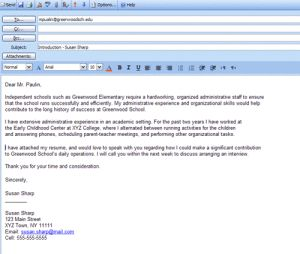 Formatted Job Search Email Message Examples: Formatted Sample Email Cold Contact Letter