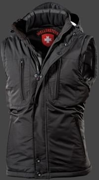 Golf Vest Winter PolyAirLite, Black  The Wellensteyn Classic is now also available as a winter vest! The proven design elements we have maintained: large chest pockets with zippers, convenient pocket openings, verschießbar also by Zipper. The padded hood is detachable and adjustable in two directions.