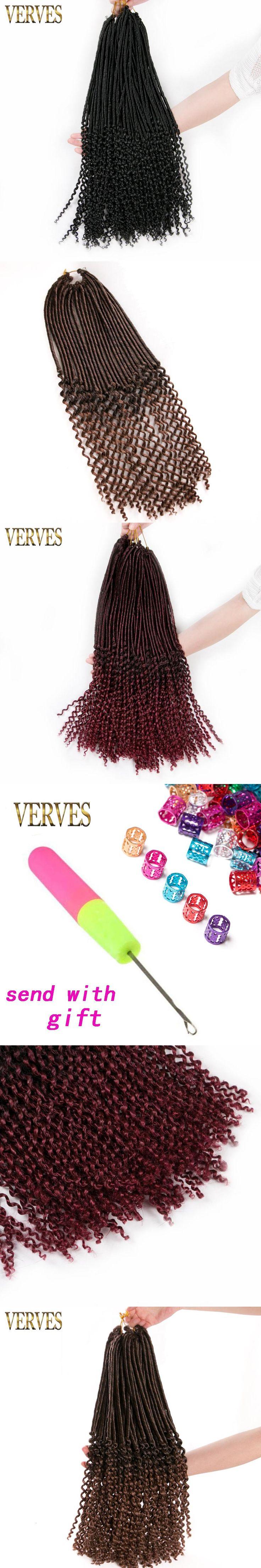 Crochet Braid hair extensions Faux Locs curly Hair 20 inch 24 strands/pack VERVES 1 pack Synthetic Fiber Braiding Hair