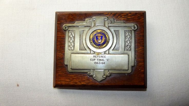 Vintage Football Trophy Plaque referee Cup Final c 1963-64. Football Memorabilia by BountyFromThePast on Etsy