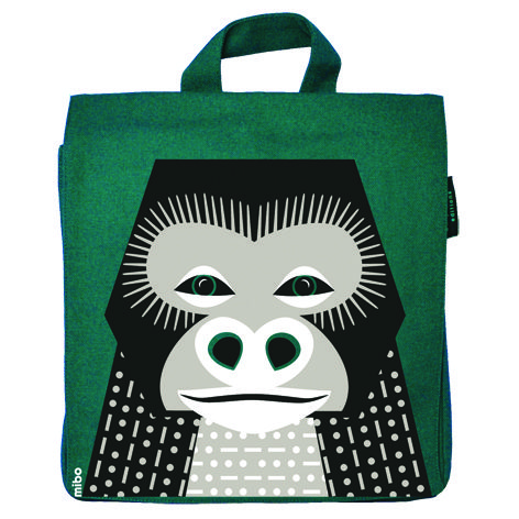 Green kid's backpack with Gorilla print by Coq en Pâte Editions. Backpack to snacks, a change of clothes or teddy... ideal for baby showers or a 1st day of school gift.  #backpack #kids #backtoschool  #Gorilla