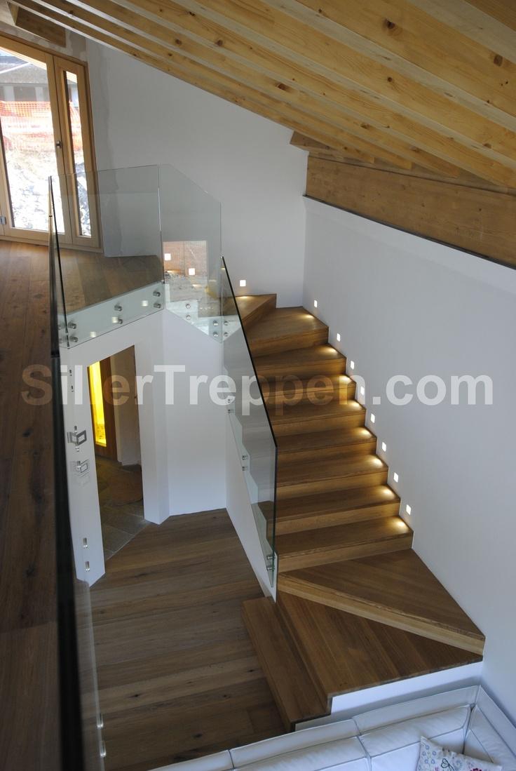 modern stairs, glass railing, wood treads, FALTWERK stairs, http://www.sillertreppen.com/en/stairs-modern/