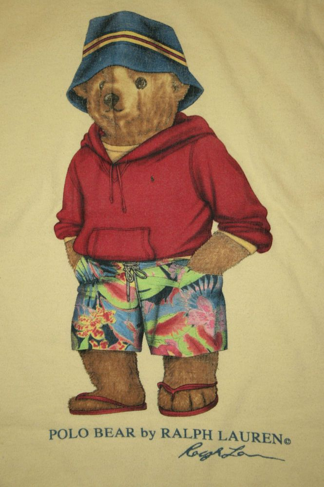 Polo Bear Ralph Lauren Beach Surf Bucket Hat Board Shorts Tee T Shirt Men's XL   #RalphLauren #GraphicTee