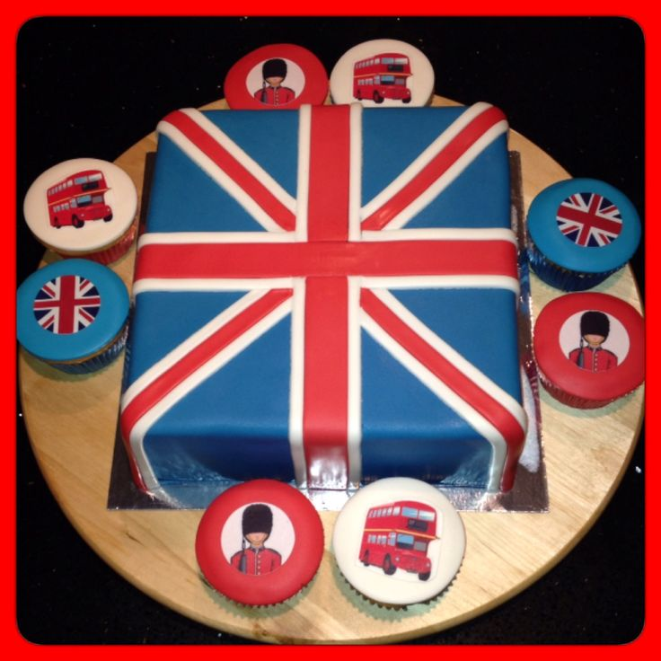 Cupcakes en taart London Engelse vlag - wacht - bus / Cake and cupcakes London theme with Union Jack