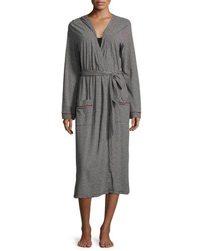 I0TSY Cosabella Bella Stripe-Print Hooded Robe, Black/Deep Ruby