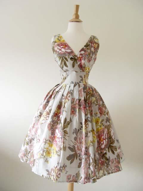 50s Vtg Style Twirl Floral Pinup Swing Dress Large **NEW COLOR**