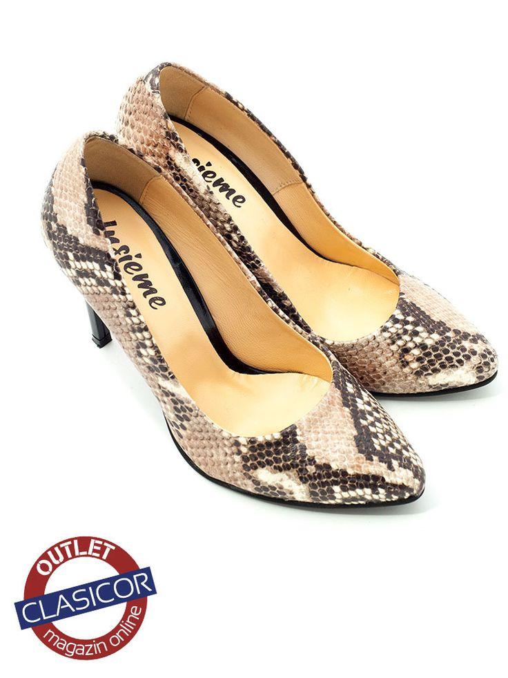 Pantofi stiletto din piele naturala, dama – 733 maro sarpe | Pantofi piele online / outlet incaltaminte piele | Clasicor