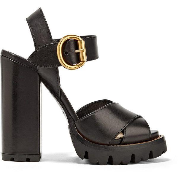 Prada Leather platform sandals (570 CAD) ❤ liked on Polyvore featuring shoes, sandals, heels, prada, обувь, black high heel sandals, platform sandals, strappy sandals, black strappy sandals and high heeled footwear