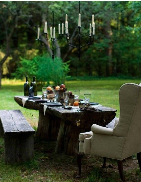 yes to the wing chair: Outside Dining, Outdoor Dining, Outdoor Living, Wings Chairs, Gardens, Dinners Parties, Outdoor Tables, Picnics Tables, To Fresh