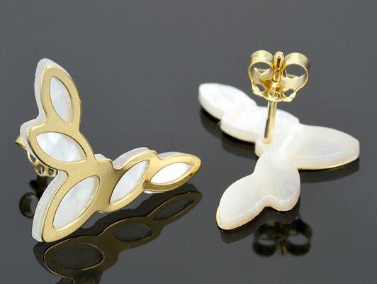 Splendido Oro(Tm) Mother Of Pearl 14k Yellow Gold Foglia Oro Stud Earrings