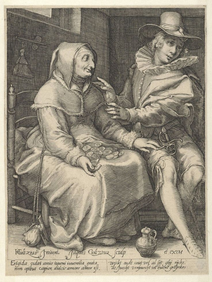 An Old Woman Offering Money to a Young Man, Jacob Goltzius (II), c. 1600 | Museum Boijmans Van Beuningen