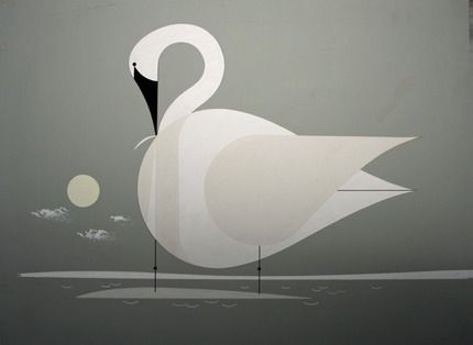 """Trumpeter Swan"" by Charley Harper.    Gouache on illustration board. Ford Times, November 1957 http://www.harperoriginals.com/charleys-originals/trumpeter-swan/"