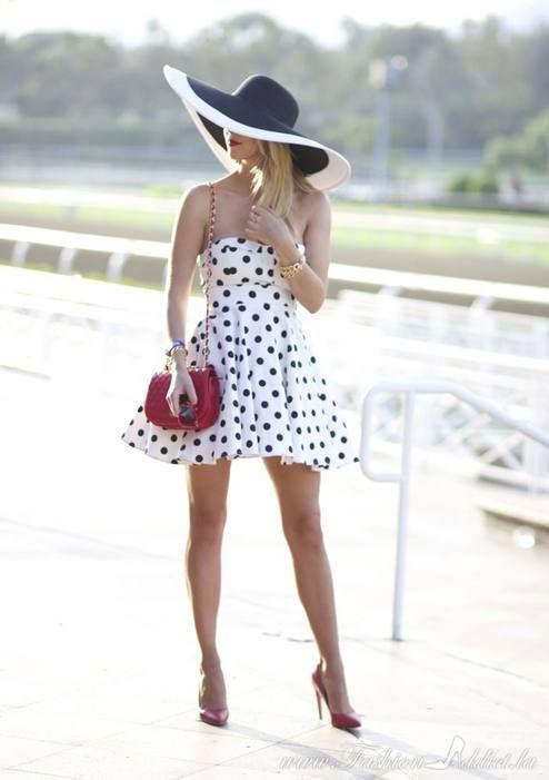 Varga Black And White Gorgeous Skater Strapless Polka Dot Dress