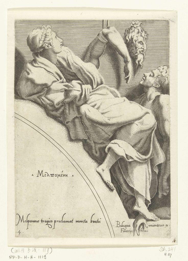 Francesco Primaticcio | Melpomene, Francesco Primaticcio, Léon Davent, c. 1540 - c. 1555 | De muze Melpomene leunend op een boog. Aan de muur hangen pleisters van armen, een hoofd en een man. Haar naam in het Grieks en een verwijzing in het Latijn staan op de boog.