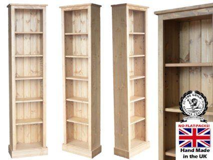 tall slim pine bookcase 2