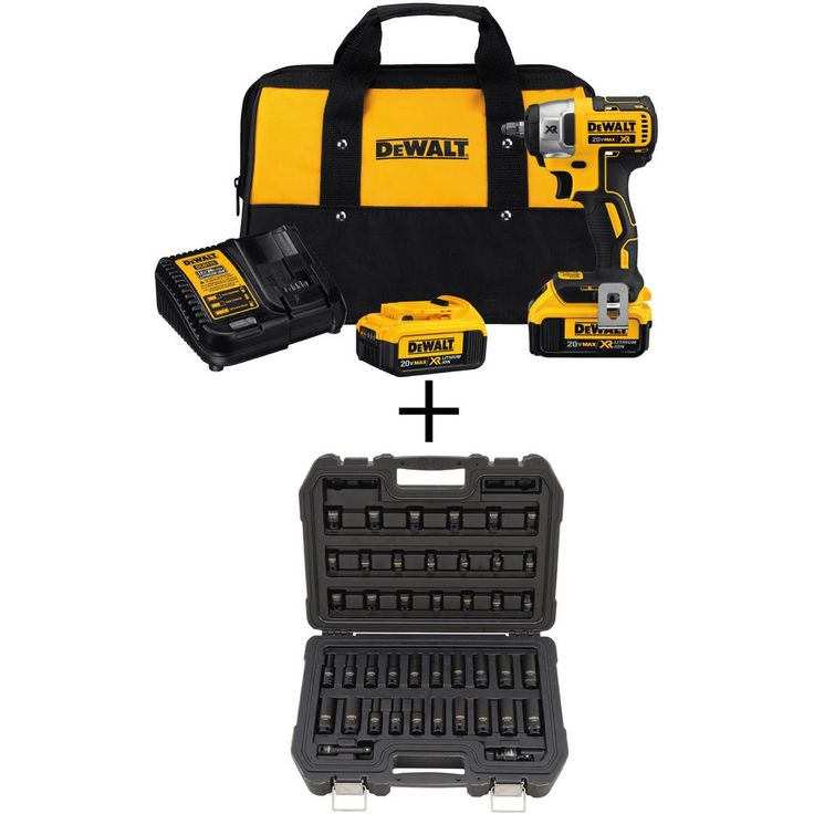 DEWALT 20-Volt MAX XR Lithium-Ion Cordless 3/8 in. Brushless Impact Wrench Kit with Bonus 3/8 in. Drive Impact Socket Set