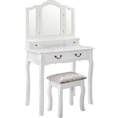 4 Drawers Elegant Dressing Table Stool w/ 3 Mirror White
