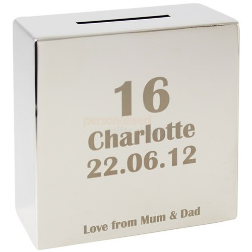Personalised Age Silver Money Box  from Personalised Gifts Shop - ONLY £19.95
