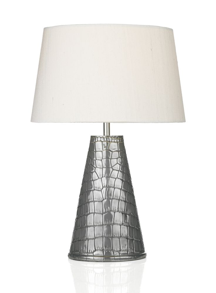 GHA4367   GHARA PEWTER TABLE LAMP BASE ONLY SHOWN WITH REL1215 IVORY SILK  SHADE (AVAILABLE