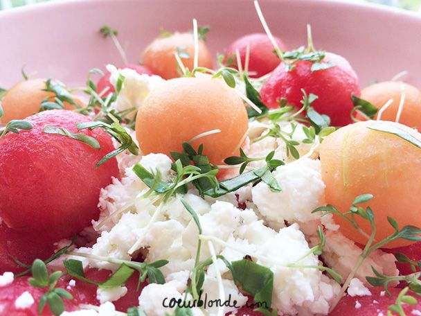frisse salade meloen feta