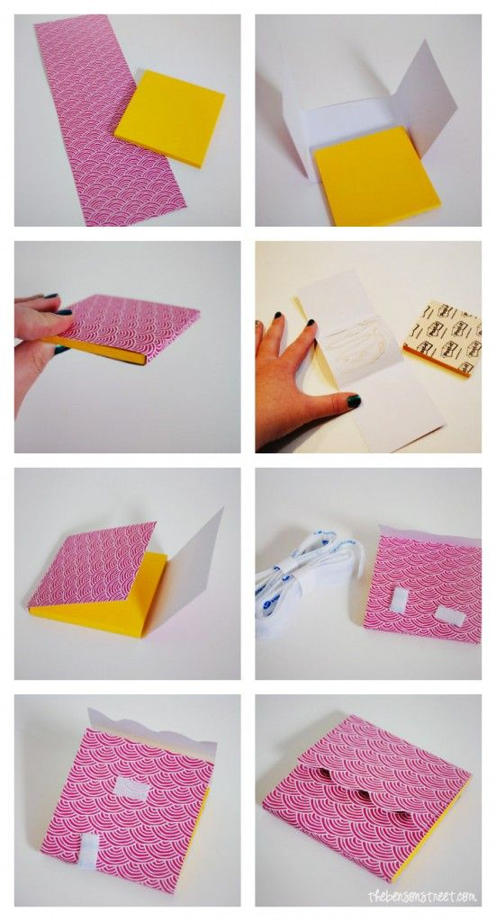 Post-It Note Cover.  Looks super easy.  Use scrapbook paper/embellishments that I already have :)  -Jamie