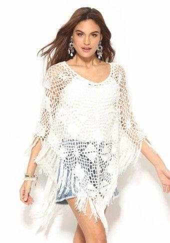 Ažurové pončo s třásněmi #ModinoCZ #poncho #summer #style #original #style #white #boho