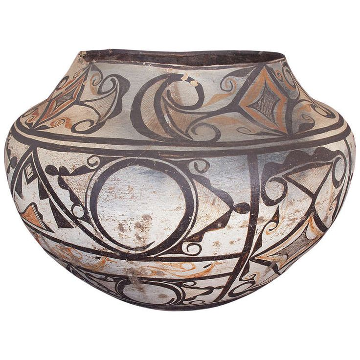 Southwest Pueblo Pottery Olla or Jar by Zuni, 19th Century   From a unique collection of antique and modern pottery at https://www.1stdibs.com/furniture/dining-entertaining/pottery/