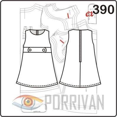 Sukienka wzór dla dziewczynek rękawów patami.  Wiek od 3 do 5 lat.