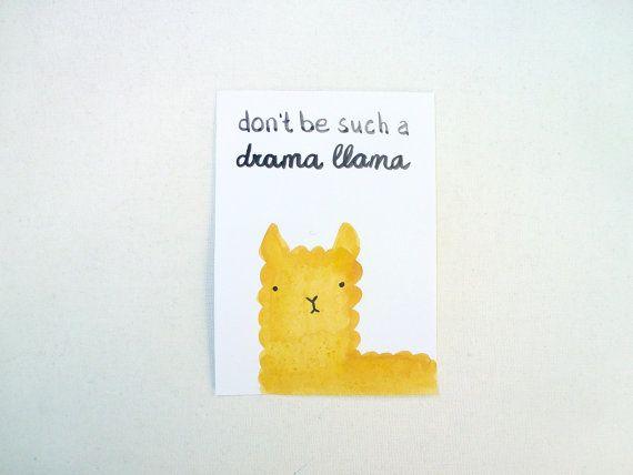 Drama LLama Card, Rude Postcard, Don't be such a drama llama, Kawaii Llama Watercolor Original Illustration, Hand lettered Card, Grumpy Card on Etsy, $4.21