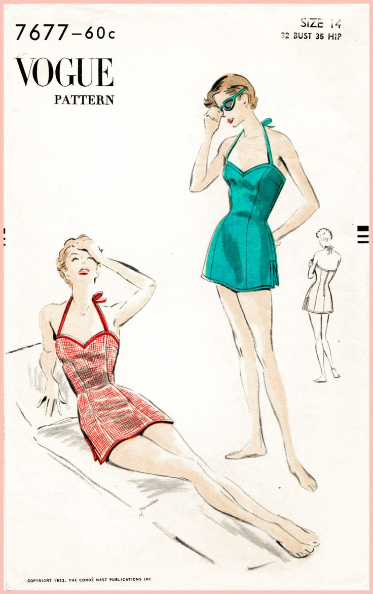 1950s 50s vintage Vogue sewing pattern bust 34  one piece swim swimsuit playsuit skirt beach romper bathing