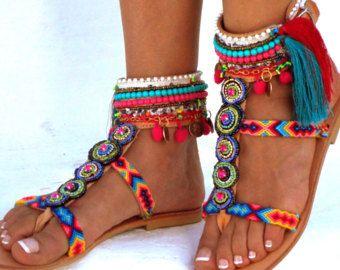 Goa lederen sandalen Pom Pom sandalen kleurrijke sandalen