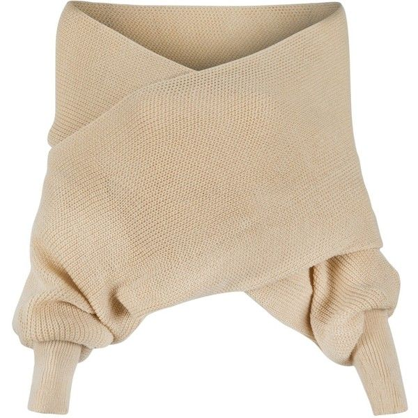 Beige Off Shoulder V-neck Wrap Detail Long Sleeve Knit Sweater ($22) ❤ liked on Polyvore featuring tops, sweaters, shirts, jumpers, beige sweater, knit wrap sweater, wrap sweater, knit sweater and v neck sweater
